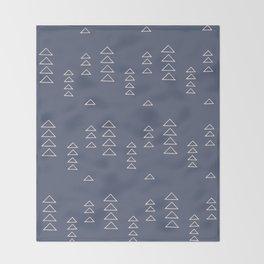 Modern Minimalist Triangle Pattern in Slate Blue Throw Blanket