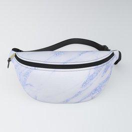 Blue Marble - Shimmery Glittery Cornflower Sky Blue Marble Metallic Fanny Pack