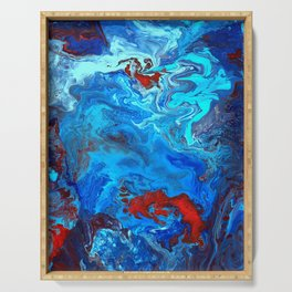 Red and Blue lava Melt Serving Tray