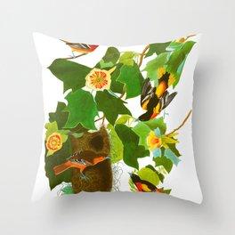 Baltimore Oriole Bird Throw Pillow