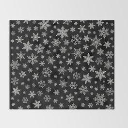 Modern Snowflake 2 -Black & Silver Grey- Throw Blanket