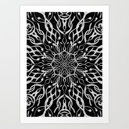 Floral Black and White Mandala Art Print