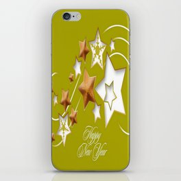Olive and Umber Happy New Year Shooting Stars  iPhone Skin