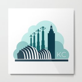 Kansas City in the Clouds - Blue Metal Print