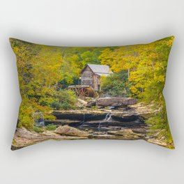 Image USA Streams Glade Creek Grist Mill, Babcock State Park, West Virginia Autumn Nature Watermill brook Stream Creeks water mill Rectangular Pillow