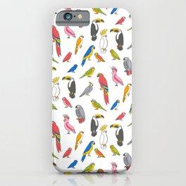 Tropical birds jungle animals parrots macaw toucan pattern iPhone Case