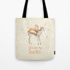 You are my adventure- fox and deer in winter- merry christmas Tote Bag