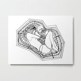 Inktober Tranquil Zentangle Girl and Fox Metal Print