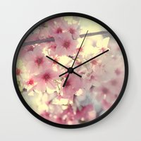 cherry blossom Wall Clocks featuring cherry blossom by Bunny Noir