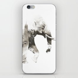 Double exposure elephant iPhone Skin