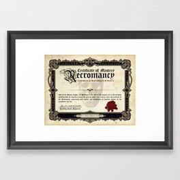 Certificate of Necromancy Framed Art Print