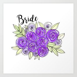 Bride Wedding Bridal Purple Violet Lavender Roses Watercolor Art Print