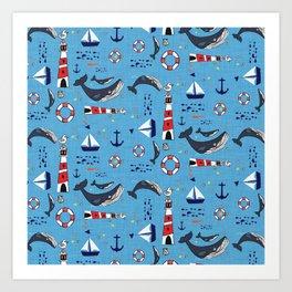 Ocean Blue Whale Blue Art Print