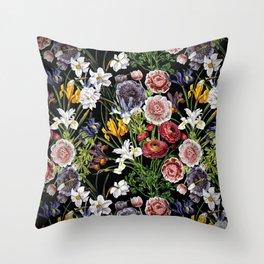 Vintage & Shabby Chic - Lush baroque flower pattern Throw Pillow