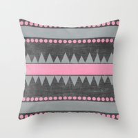 aztec Throw Pillows featuring Aztec by her art