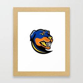 Rottweiler Dog Mascot Framed Art Print