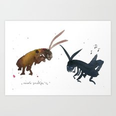 Cockroach and Cricket Art Print