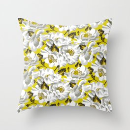Mount Cook Lily - Yellow/White Throw Pillow