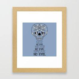 Cute Skull See no Evil Framed Art Print