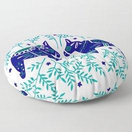 Swedish Dala Horses – Navy & Blue Palette Floor Pillow