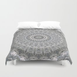 Mandala in white, grey and silver tones Duvet Cover
