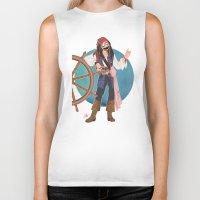 jack sparrow Biker Tanks featuring Captain Jack Sparrow by Lili's Damn Fine Shop