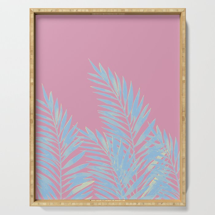 Palm Leaves Blue And Pink Serving Tray