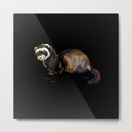 Retro Ferret Gift Idea Design Motif Metal Print