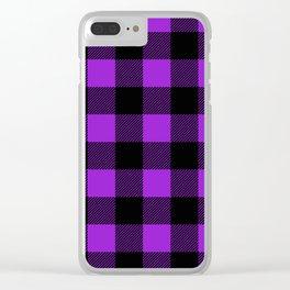 Purple and Black Buffalo Plaid Clear iPhone Case