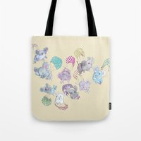 elephants Tote Bags featuring Elephants by Maureen Poignonec