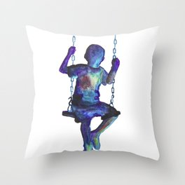 Child on the Swing Throw Pillow