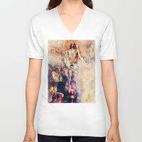 christ V-neck T-shirts featuring  Jesus Christ by jbjart