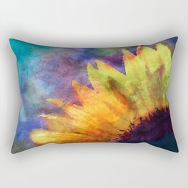 Sunflower Flower Floral on colorful watercolor texture Rectangular Pillow