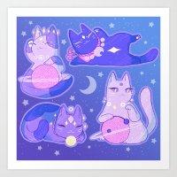 Celestial Cats Art Print