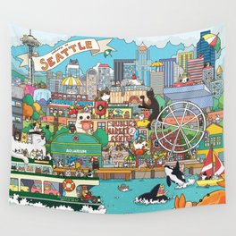 Seattle cats Wall Tapestry