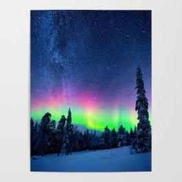 Aurora Borealis Over Wintry Mountains Poster
