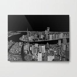 Shanghai in BW Metal Print