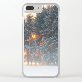 Sunrise in winter cloud forest Clear iPhone Case