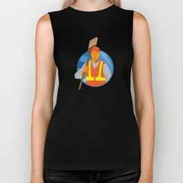 janitor cleaner sweeper with broom retro Biker Tank