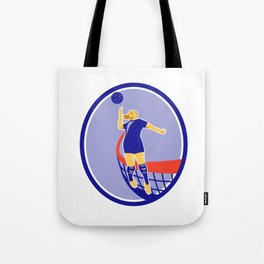 Volleyball Player Spiking Ball Oval Retro Tote Bag