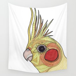 Yellow Ombre Cockatiel Illustration Wall Tapestry