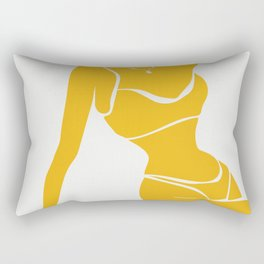 Sitting woman with bikini in yellow colour | Abstract art print | Graphic design figurative Rectangular Pillow