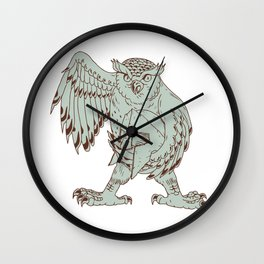 Owl Holding Spartan Helmet Drawing Wall Clock