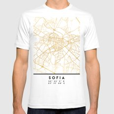 SOFIA BULGARIA CITY STREET MAP ART White Mens Fitted Tee MEDIUM