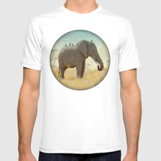 along for the ride _ an elephant and his feathered friends White MEDIUM Mens Fitted Tee