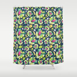 Toucans Everywhere - Blue Shower Curtain