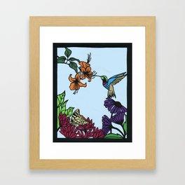 Hummingbird Garden Paper-cut  Framed Art Print