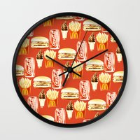junk food Wall Clocks featuring Junk Food by popsicledonut