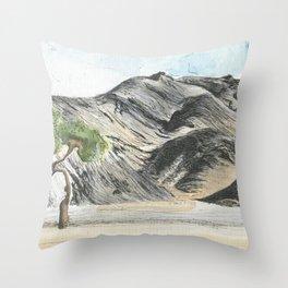 Watercolour and pen mountains. Throw Pillow