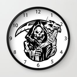 grim reaper black an white Wall Clock